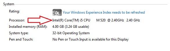 به دست آوردن مشخصات سخت افزاری لپ تاپ - پردازنده